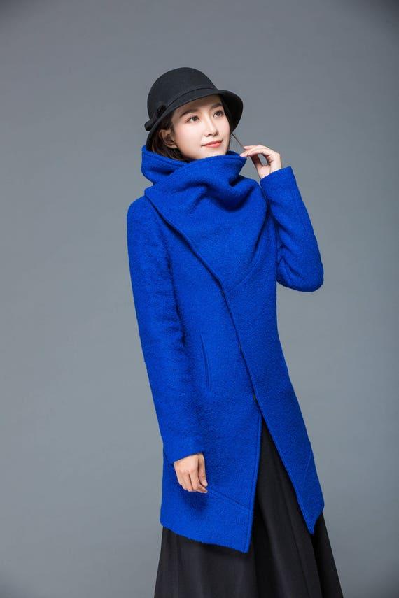 womens warm loose winter C1172 jacket bule coat coats jacket coat jacket wool warm coat womens coat jacket asymmetrical qOwrRxqZ1