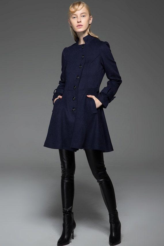 swing coat coat women coat wool winter coat C750 blue Asymmetrical coat coat Coat coat jacket midi jacket wool jacket wool xOPPqUpw