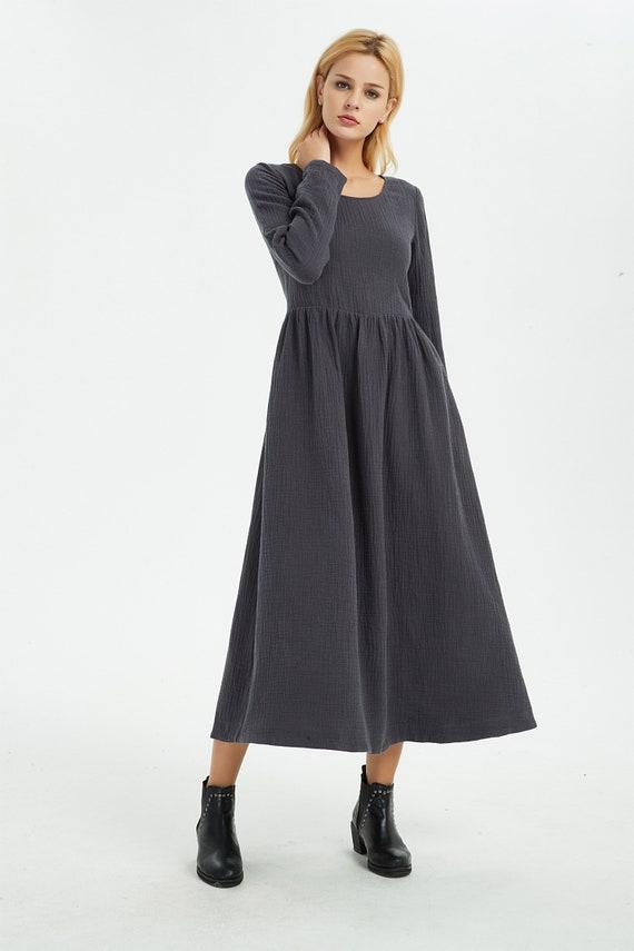 long Linen dress with pockets autumn winter outfit C1368 Casual linen dress Gray dress Maxi Linen dress Linen dress women linen dress