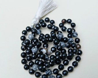 Black Agate & Snowflake Obsidian 108 Mala Beads / Knotted Mala Necklace / Tassel / Prayer Beads / Meditation Yoga / Root Chakra / Black Grey