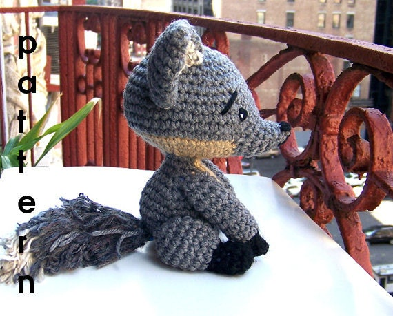 Crochet Pattern Baby Gray Fox Instant Download Pdf Toy Stuffed Etsy