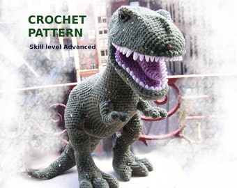 T-Rex Crochet Pattern-Advanced Skill Level Dinosaur Crochet Pattern-No sew Amigurumi T-Rex Pattern-Stuffed T-Rex-Digital Download PDF