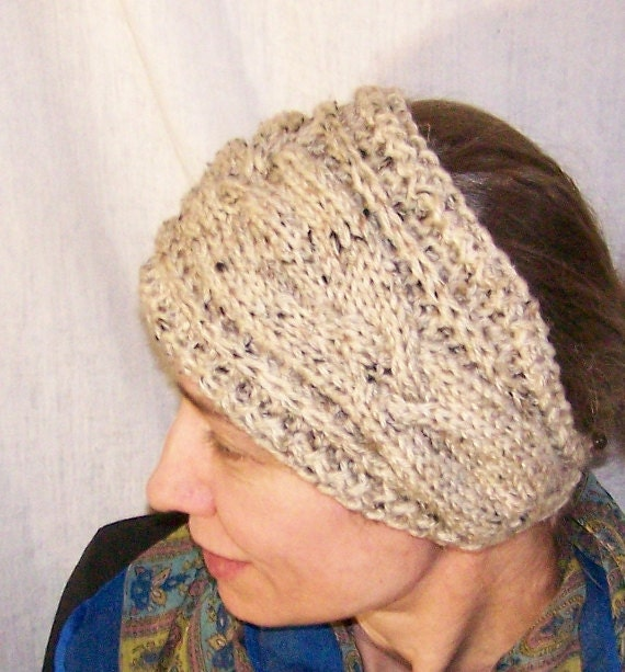Knitting Pattern Handmade Knit Headband For Women Head Scarf Cabled