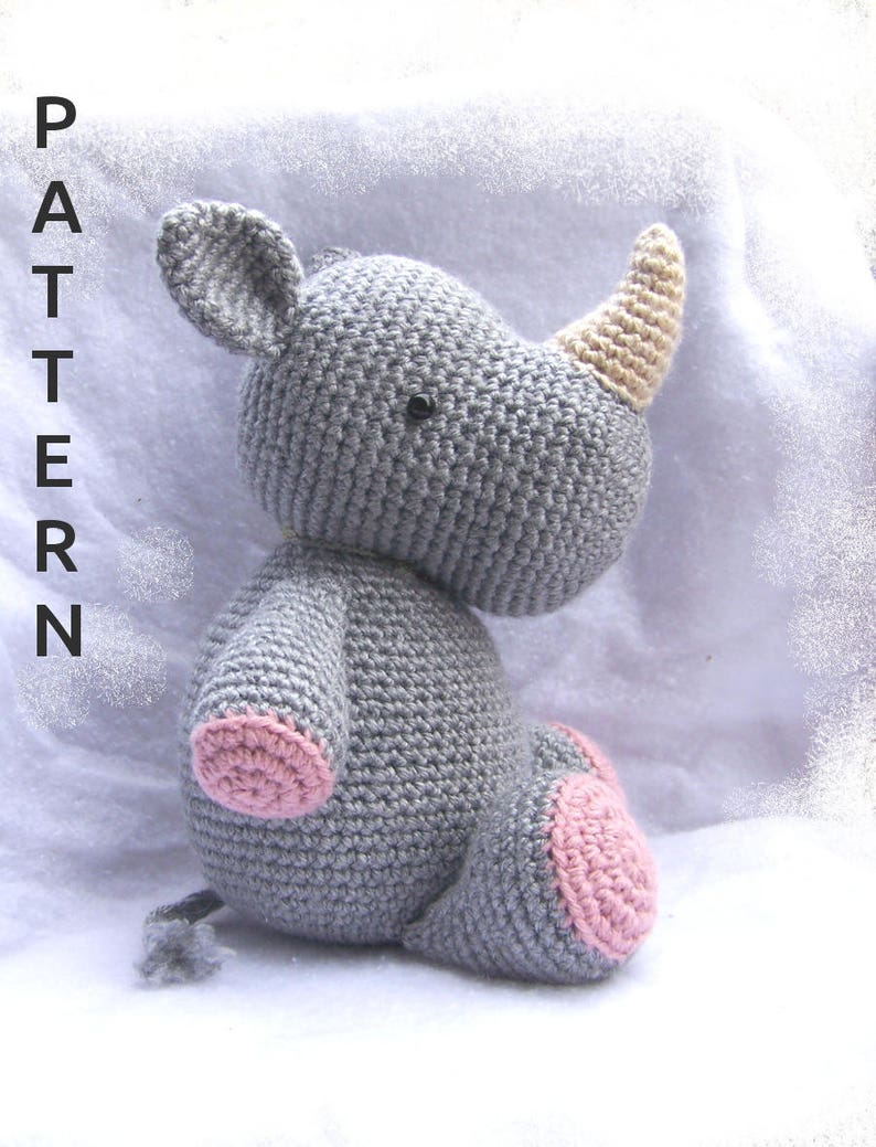Cuddly Baby Rhino-Instant Download Crochet Pattern-Soft Toy image 0