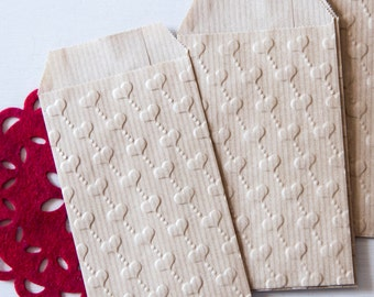 Embossed kraft bag hearts pack of 10 (7cm x 11.3cm) gift bags, advent calendar sachets, christmas, wedding bags, sugared almonds