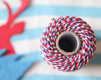 Baker's twine string - blue/red/white - 10m (2mm) for decoration, gift wrap, wedding, parties, christmas