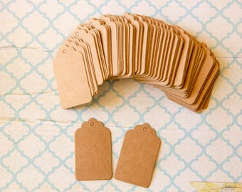 Kraft Brown Gift Tags, set of 100 labels kraft, little gift labels - lot of 100 for gifts, place markers, labeling 3cm x 5cm