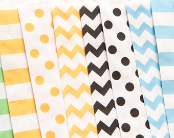 Kraft bags set, gift bags, chevrons bags, dots bags 12.6cm x 18.7cm made in USA (set of 10)