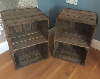 Pair of Crates with Shelf. Darker Brown. FREE DELIVERY!!!!! Bedside Side Table. Excellent Quality, Sturdy. Gorgeous Vintage Look.