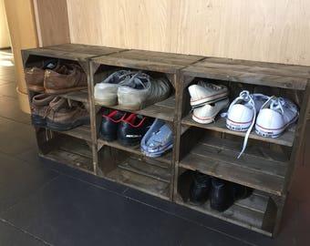Bundle of Three (3) Wooden Shelf Crates. Excellent Shoe Rack Storage. Dark Brown. FREE DELIVERY!!!