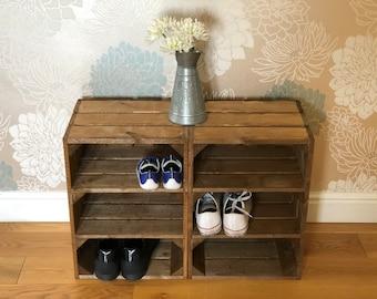 Crate Shoe Rack Unit in Medium Brown