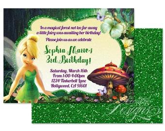 Tinkerbell invitation etsy 5x7 tinkerbell invitation you print tinkerbell invite fairy party tinkerbell party theme birthday party spa party glitter solutioingenieria Choice Image