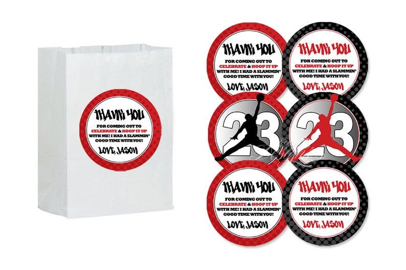 dc4984d7e55 Air Jordan Party Favor Bag Stickers You Print Jumpman | Etsy