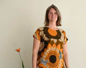 Tunic vintage fabric insect appliqués, oversized dress, cotton and batik appliqués, neckties obi, orange beige brown, Medium or Large size