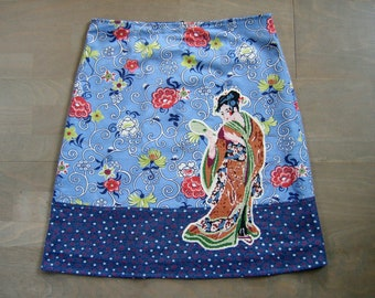 Skirt made of vintage cotton and Geisha embroidery appliqué, lined A-line skirt, chinoiserie skirt, geisha skirt, blue red, size Medium