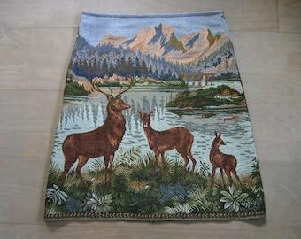 Skirt made of vintage Tapestry, lined A-line skirt, deer skirt, landscape skirt, wall hanging skirt, brown green blue gray, size Medium