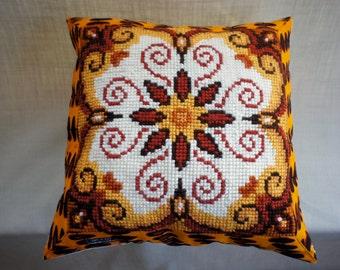 "Pillowcover Vintage needlework, orange flower, Vlisco batik, cream corduroy back, 19"" x 19"" or 49 x 49cm"