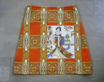 Skirt made of cotton and Geisha embroidery appliqué, lined A-line skirt, chinoiserie skirt, geisha skirt, ochre orange, size Medium