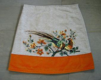 Skirt with Birds of Paradise embroidery appliqué, lined A-line skirt, upcycled silk/linen, velvet rim, beige orange green, size Medium