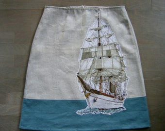 Skirt with Ship embroidery, lined A-line skirt, linen skirt, barge Gorch Fock embroidery appliqué, off white teal skirt, size Large