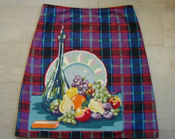 Skirt with Still Life embroidery appliqué, lined A-line skirt, fruits embroidered skirt, wool skirt, purple red teal aqua, size Large