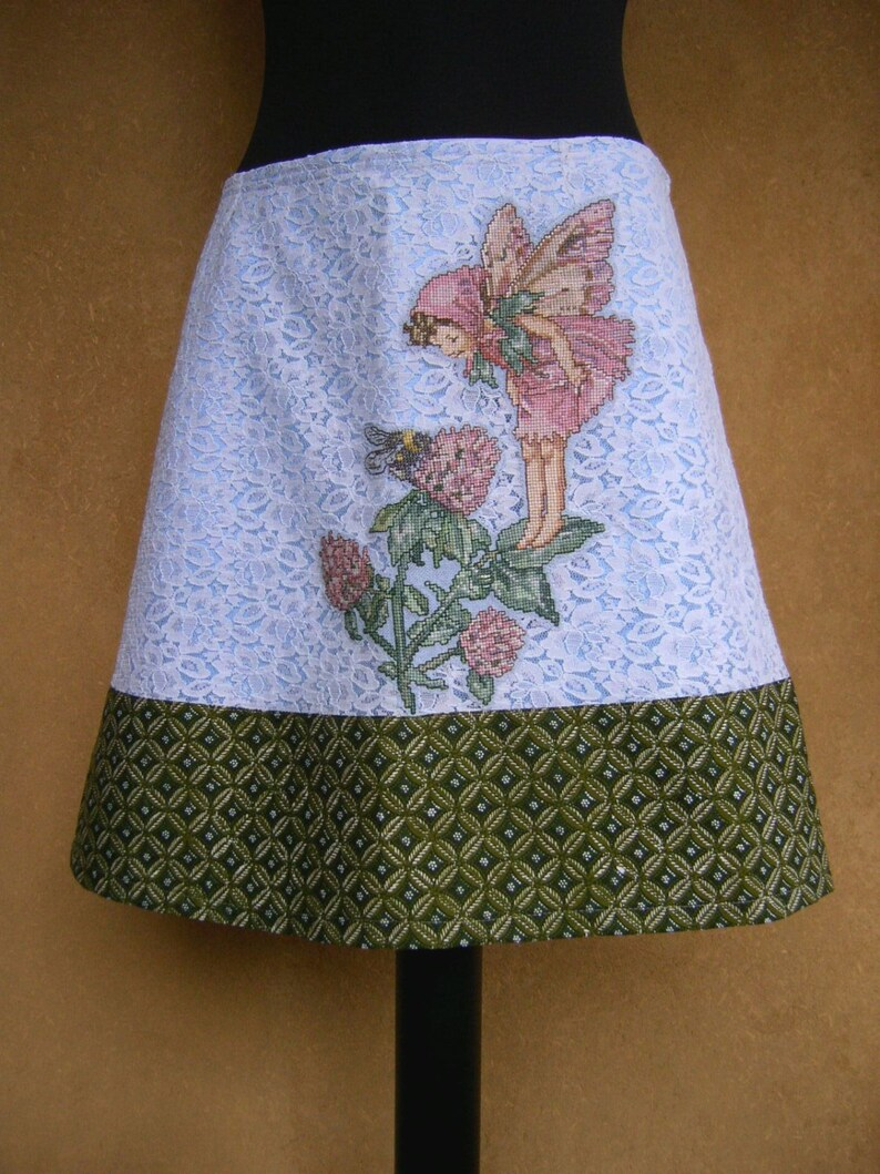 size Small appliqu\u00e9 lined recycled light blue green lace and cotton A-line skirt Skirt with Clover Fairy embroidery,Cicely Mary Barker