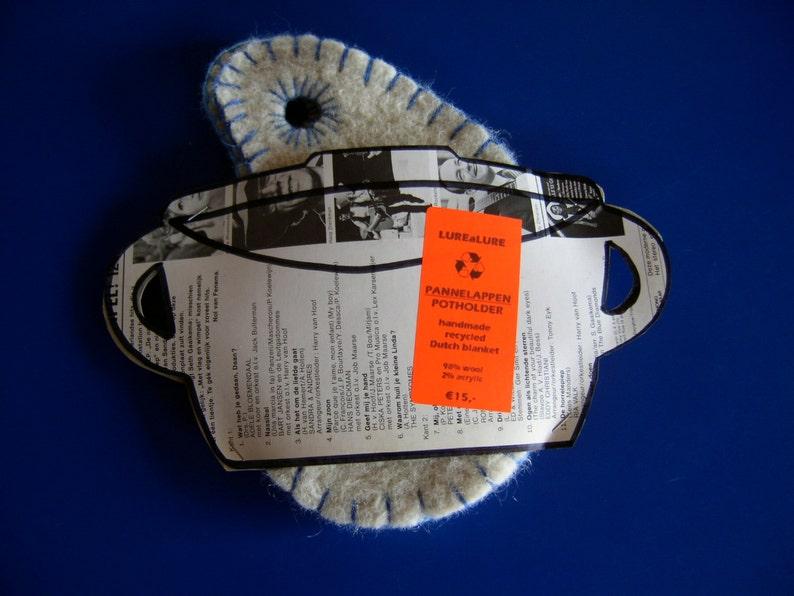 upcycled felted wool ovenglove Potholder set offwhite beige Barbapapa shape Pot Holders YinYang pot holder recycled Dutch blanket wool