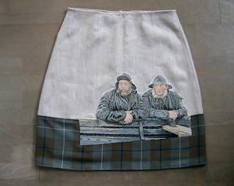 Skirt with 2 Fishermen embroidery appliqué, lined A-line skirt, linen and tartan skirt, embroidered skirt, off-white blue gray, size Medium