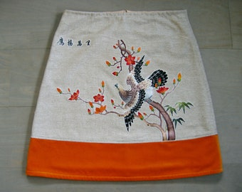 Skirt with Chinese embroidery appliqué, lined A-line skirt, chinoiserie skirt, silk embroidered eagle skirt, beige orange, size Medium