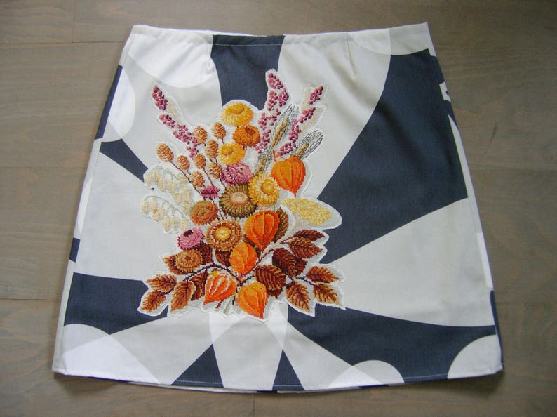 Skirt with embroidery autumn flowers lined ikea cotton etsy