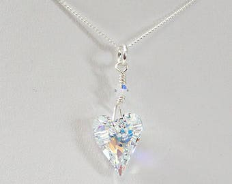 f6b4a06077 Swarovski Crystal Heart Necklace, Unique Heart Crystal, Gifts For Her Under  20, Best Selling Jewelry, Sterling Silver Adjustable Chain