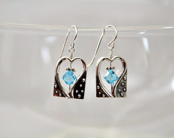 Unique,Heart Earrings,For Her,Mothers Day Gift For Grandma,From Grandkids,For Wife,March Birthstone Gift,Swarovski,Silver Heart,Earrings