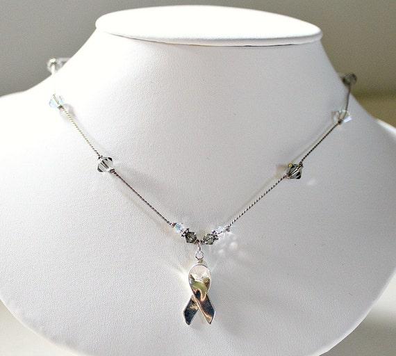 Brain Cancer Jewelry, Oncology Nurse Gift, Swarovski, Sterling Silver  Awareness Ribbon Necklace, Grey Cancer, Brain Tumor, Hospice Nurse