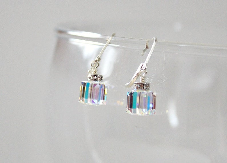 956a53f3d51ed Swarovski April Birthstone, Crystal Cube Earrings, Gift Women, Unique  Birthday Gifts For Her, Crystal AB Jewelry, Prom Jewelry, 30th Gift
