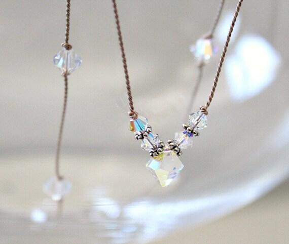 FERTILITY Gem Drop Healing Necklace w Rainbow Moonstone Carnelian Chrysoprase Pyrite Beads on Silk Cord Positive Mantra Jewelry