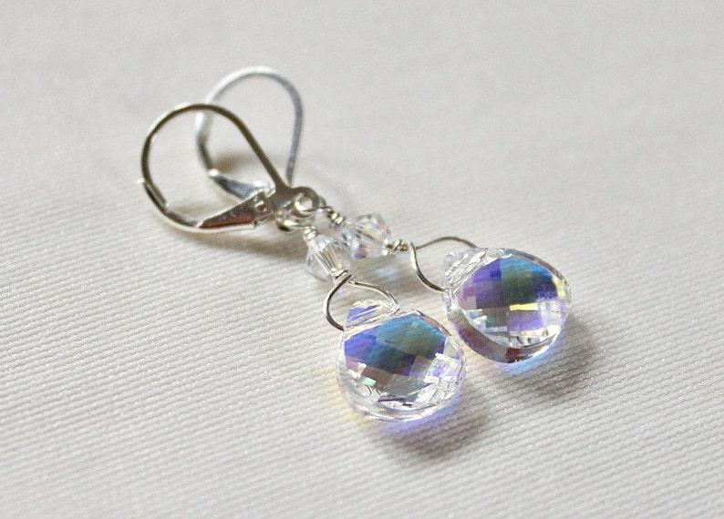 12688c65c Crystal Bridal Earrings Swarovski AB Briolette Earrings | Etsy