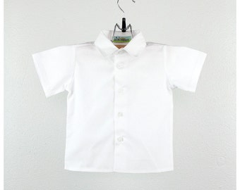 34b7349e Baby boy shirt - Boys short sleeve cotton White shirt