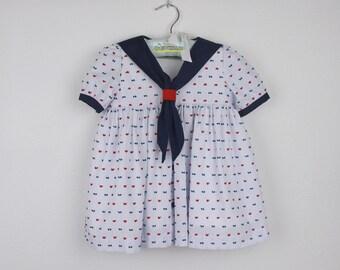 Girl Dress -  Short sleeve Red and Navy blue swiss dots sailor dress