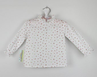 Girl Blouse - Long sleeve white blouse with pink flowers, victorian collar