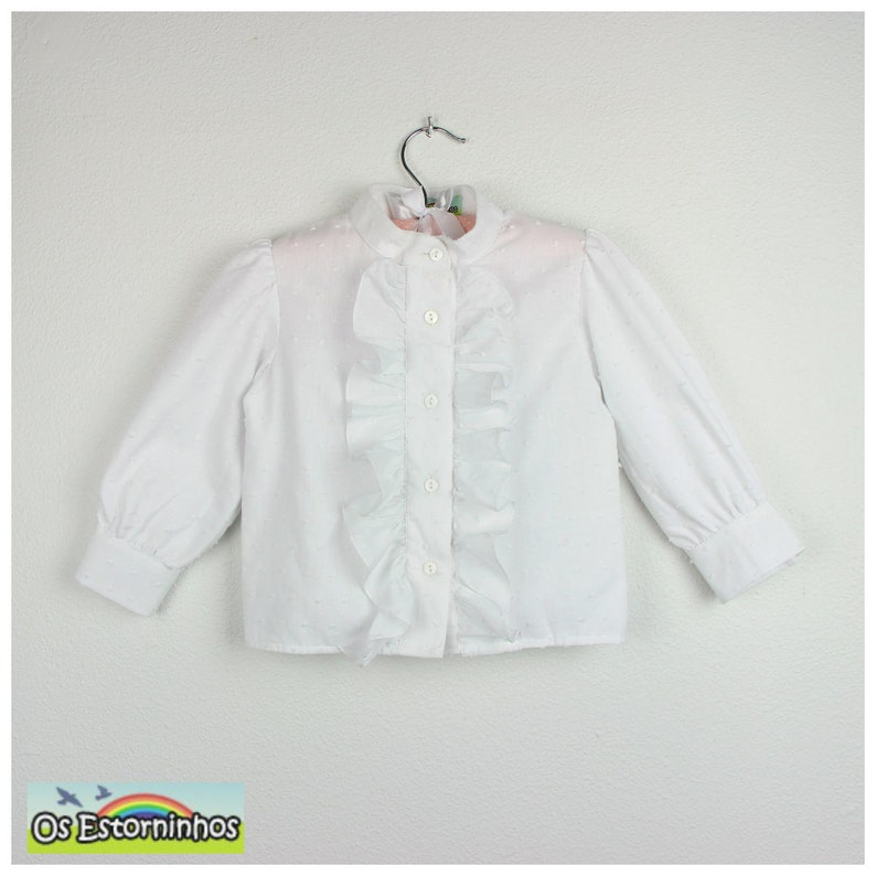 100/% Cotton Swiss Dots long sleeve  white Blouse Mao collar with ruffle Girls Blouse