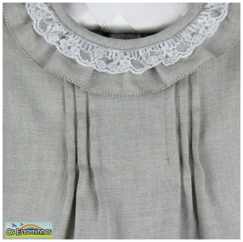 Grey soft and warm pleated Cotton and modal  Blouse with ruffled collar and lace details More colors available
