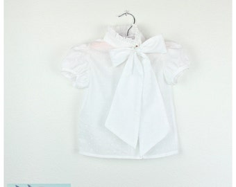 Girls Blouse -  100% Cotton Sheer swiss dots Short sleeve  white Blouse, mao collar, side bow -Other colors available