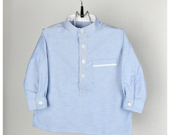 Boys Light Blue Long-Sleeve Mao Shirt  with Roll-Up Tab Sleeves - Other colors  available
