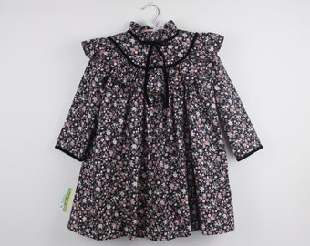 Girl Dress -  Long Sleeve Black Floral Dress Trimmed with Black velvet
