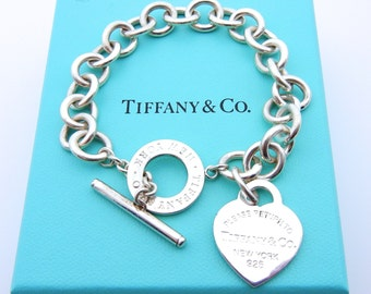 d2fa3199309 Authentic Tiffany and Co Bracelet - Heart Tag Toggle Clasp - SS - Tiffany &  Co - Heart Tag Pendant - Designer - Vintage Tiffany # 4716