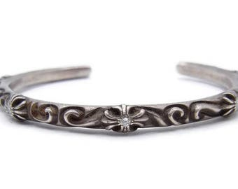1076964085a3 Authentic Chrome Hearts Open Cuff with Diamonds - Solid Sterling Silver  Bracelet - 5 Diamond Cuff - Designer Jewelry - Unisex   4461