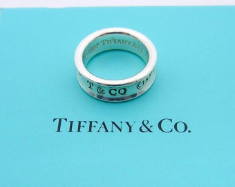84559fbcb Authentic Tiffany & Co 1837 Collection Ring - Sterling Silver Wide Band -  Size 6 - Unisex - Designer - Vintage Tiffany Co - Concave # 4756