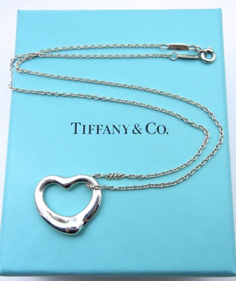 7f3f19499 Authentic Tiffany and Co Elsa Peretti Open Heart Necklace | Etsy