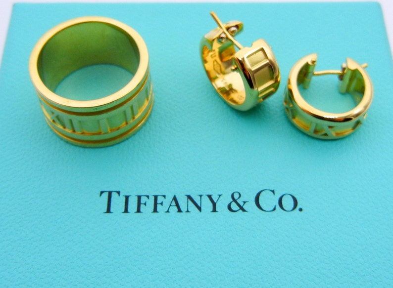 0c6c5c56e Authentic Tiffany & Co Atlas Ring and Atlas Hoop Earrings | Etsy