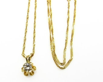 """14K Yellow Gold Diamond Pendant Necklace - Floral Design and 18.5"""" Gold Chain - 0.20 ct Diamond Pendant - Sweetheart # 1436"""